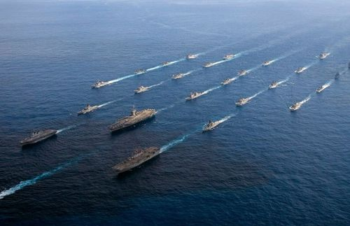 US Navy ships headed by the aircraft carrier USS Ronald Reagan are taking part in the Keen Sword exercises.(US Navy).