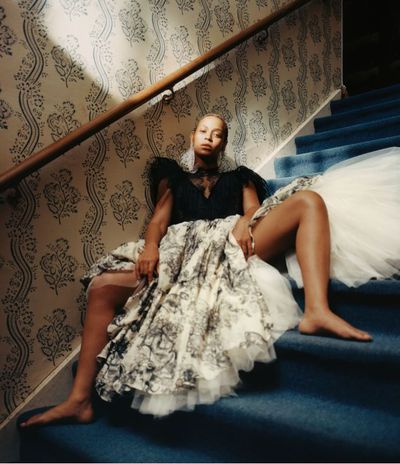 Beyoncé wears a Dior dress and Saint Laurent by Anthony Vaccarello earrings <em>US Vogue</em> September 2018<br /> <br />