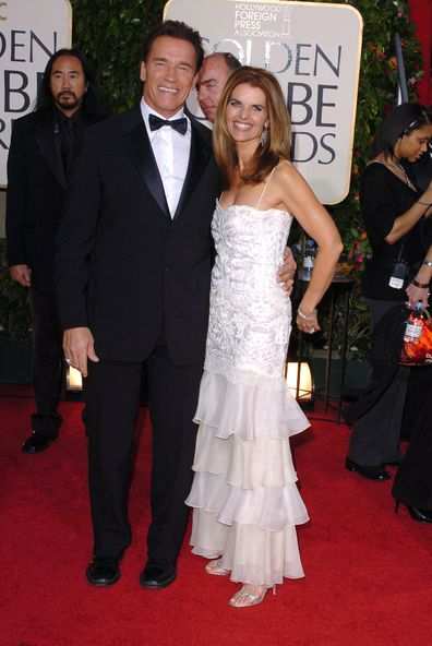 Arnold Schwarzenegger and Maria Shriver at the 62nd Annual Golden Globe Awards in 2005.