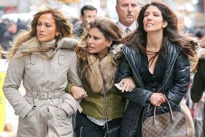 An unidentified friend joined the Lopez sisters for their New York stroll.