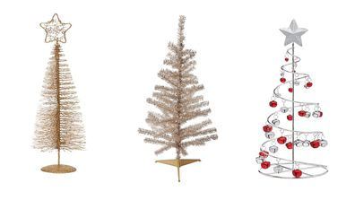 Small festive trees and Christmas trees for decoration.