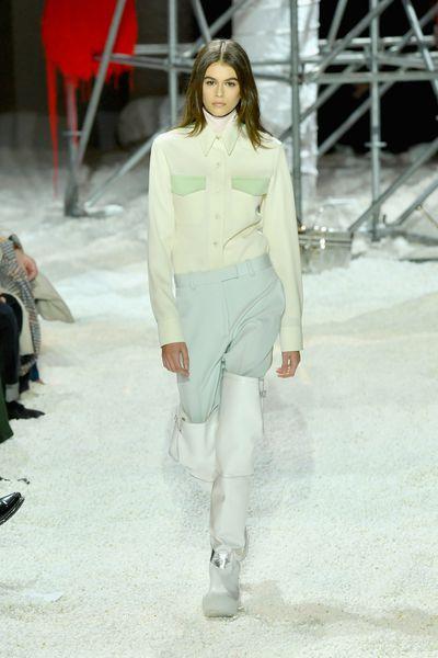 Kaia Gerber walks for Calvin Klein A/W '18 in New York City