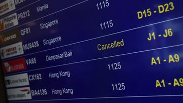 A cancelled flight (unrelated to the Fly365 collapse) is seen on the flight board at Sydney International Airport.