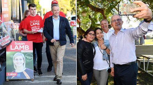 Mr Turnbull and Mr Shorten pictured on the campaign trail