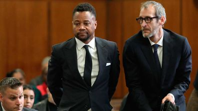 Cuba Gooding Jr., centre, appears in court to face new sexual misconduct charges, Tuesday, Oct. 15, 2019, in New York. The new charges involve an alleged incident in October 2018.