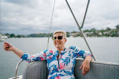 9Honey presenter Jane de Graaff on a boat on the harbour