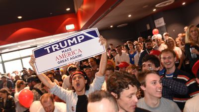 <p>Donald Trump supporters make their opinions clear at the University of Sydney event. </p> <p>(AAP)</p>