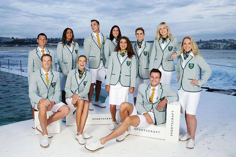 Eleven of Australia's Olympians unveiled the new Sportscraft-designed uniforms at Bondi Beach on Wednesday morning.
