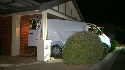 Van ploughs through fields, fences and into home