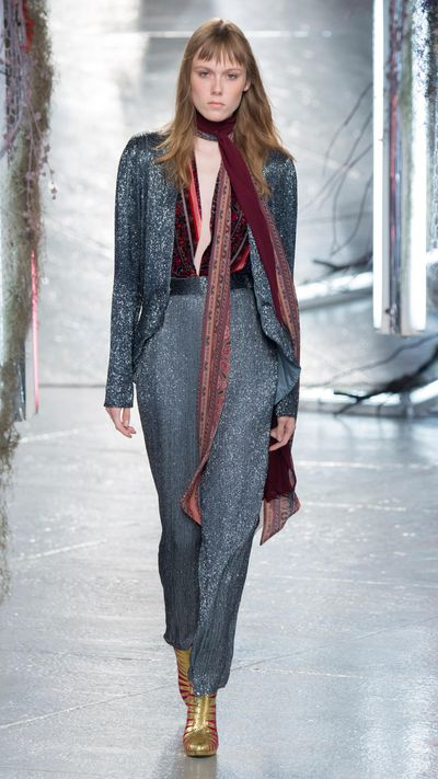 At Rodarte, designers Kate and LauraMulleavy lent their strain of theatrical design to SS16 with lashings of lace and velvet topped with sequins and shearling. The result? A vibe that was at times reminiscent of Studio 54 in its heyday, at times old-worldly. Click through to fall under the spell.