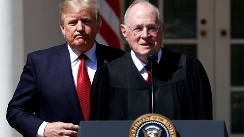US President Donald Trump and retiring Supreme Court justice Anthony Kennedy. (AP).