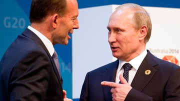 Tony Abbott and Vladimir Putin. (AAP)