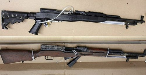 Police photographs of the two SKS type firearms used in the murders. One rifle was being purchased by McLeod on July 12, 2019 at the Cabela's Store in Nanaimo, BC. The second is an older style SKS with numerous serial numbers indicating parts from different weapons were put together over the years. Investigators have been unable to identify where the older SKS weapon or parts originated from.