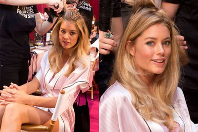 Doutzen Kroes getting primped and prodded...