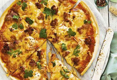 Garlic prawn, chorizo and chilli pizza