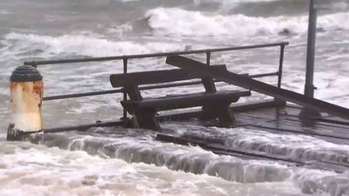 The end of the pier washed up about 500 metres down the beach.