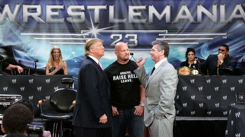 Donald Trump, wrestler Stone Cold Steve Austin and WWE Chairman Vince McMahon attend the press conference held by Battle of the Billionaires to announce the details of Wrestlemania 23 at Trump Tower on March 28, 2007 in New York City