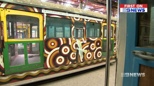 Specially painted 'art trams' will also be set aside for use in galleries or for public display. Picture: 9NEWS.