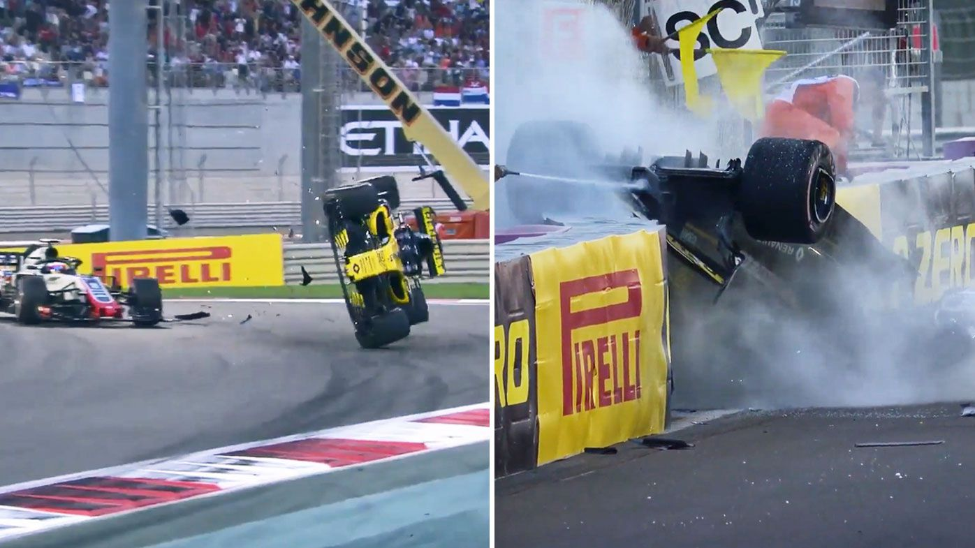 Nico Hulkenberg in scary car flip at Abu Dhabi Grand Prix