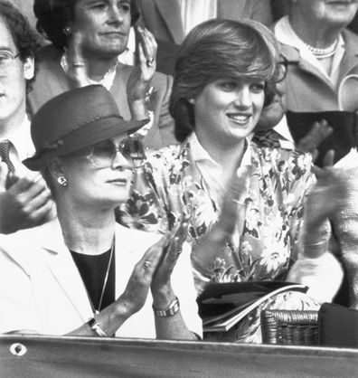 Princess Diana and Princess Grace clapping as they watched the Men's Singles final between John McEnroe and Bjorn Borg.