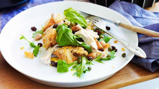 Chicken salad with sourdough croutons, raisins, almonds & capers