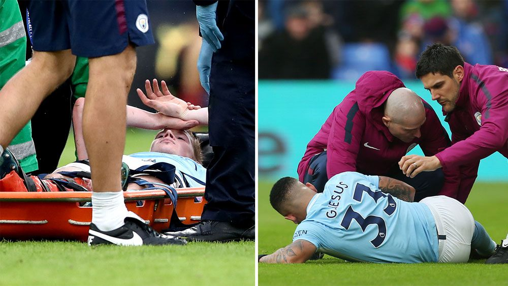 Manchester City manager Pep Guardiola eyes Arsenal's Alexis Sanchez after Gabriel Jesus injury