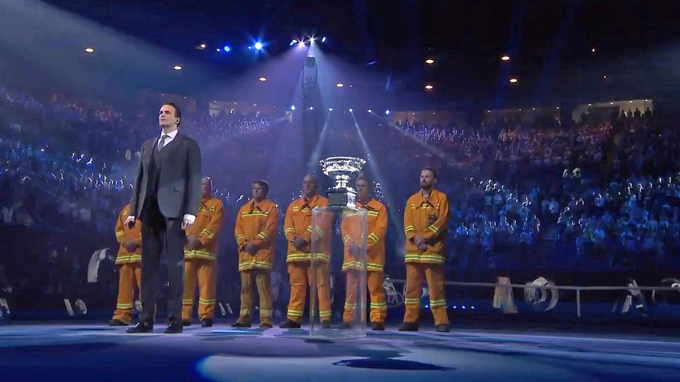 Firefighters honoured before Australian Open men's final after horror summer of bushfires