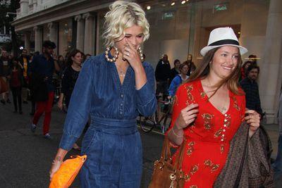 Pixie Geldof spotted walking down Bond Street with a friend in London.