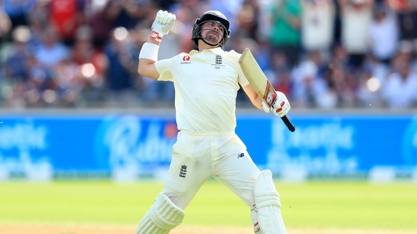 Rory Burns celebrates his maiden test century, Edgbaston