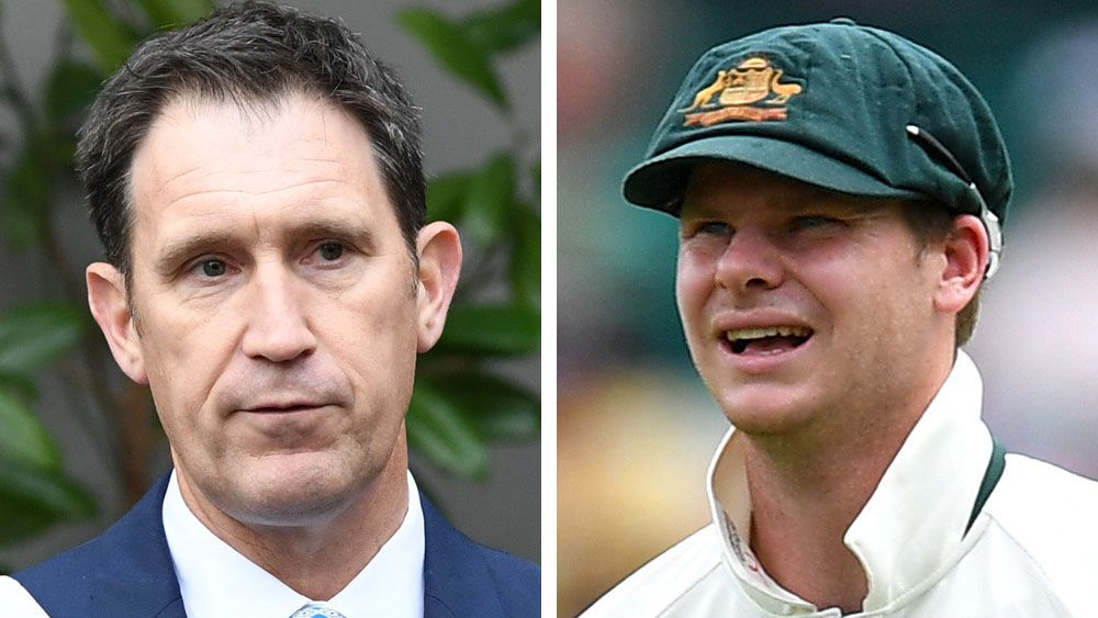 Cricket Australia CEO James Sutherland and Test captain Steve Smith. (AAP)