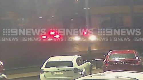 Three teenage girls arrested after a police pursuit that left two police patrol cars damaged. Picture: 9NEWS
