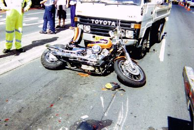 Truck and motorbike accident on Parramatta Road.
