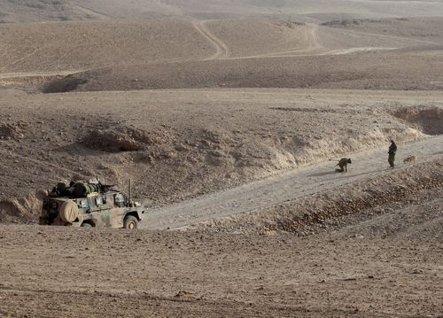 Australian soldiers check for improvised explosive devices whilst convoying in the Bushmaster vehicles from Tarin Kowt to the Miribad Valley in Uruzgan Province, Afghanistan.