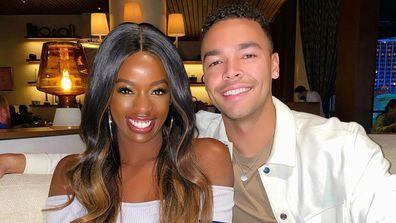 Justine Ndiba with Caleb Corprew who met on Love Island USA Season 2