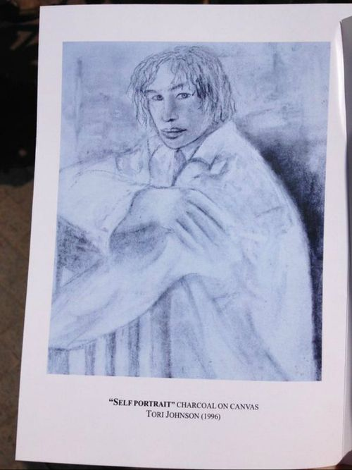 One of Tori Johnson's self portraits was featured in the funeral booklet.