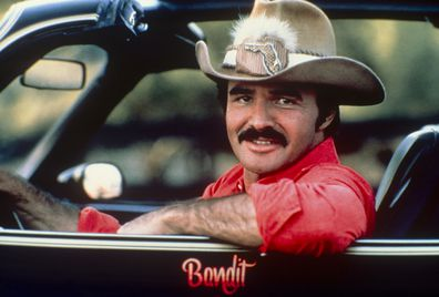 Burt Reynolds in the car from Smoky and the Bandit; circa 1970; New York.