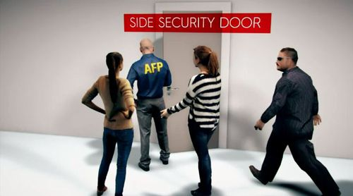 An exit through a side door monitored by members of the Australian Federal Police then allowed her to access express passport and customs screenings. Picture: 9NEWS.
