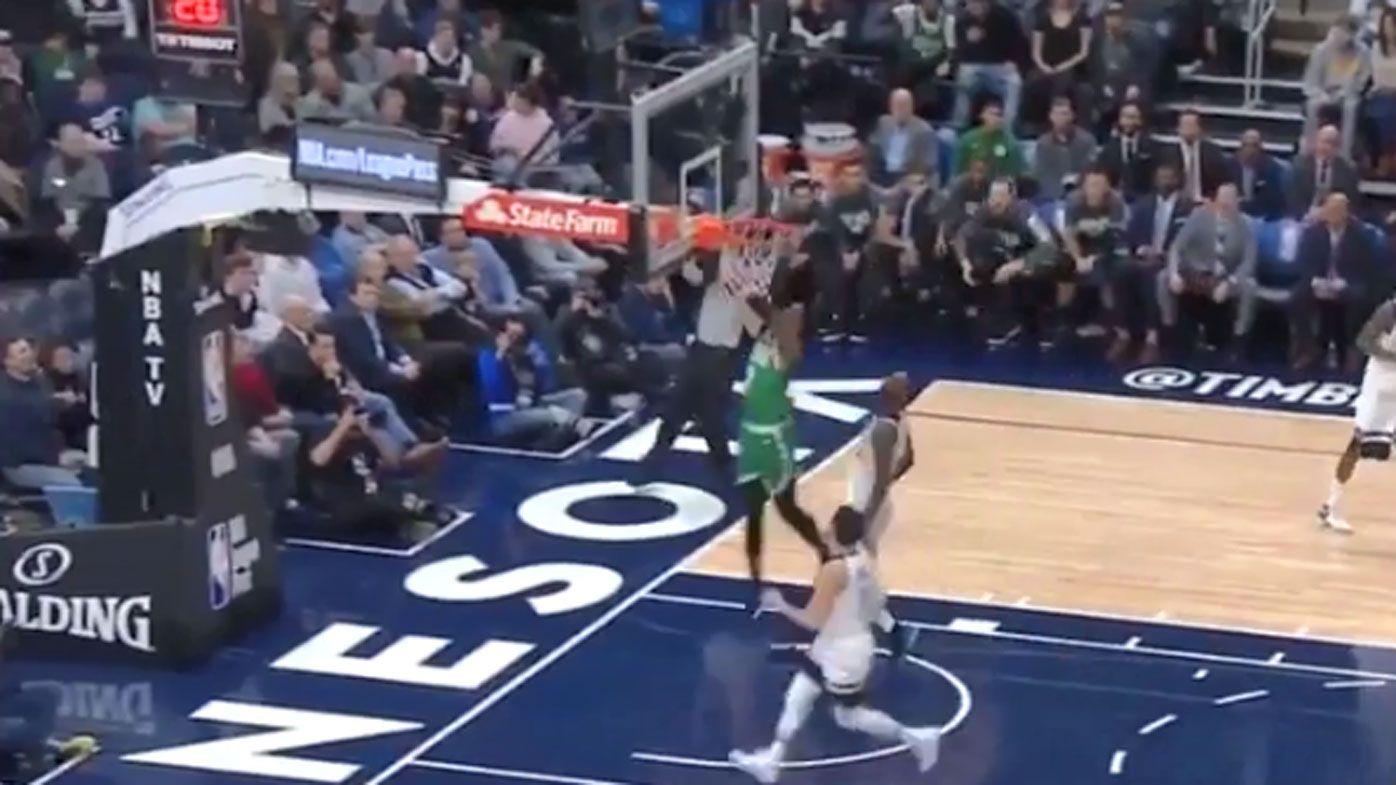 Celtics' Jaylen Brown has horrific spill following a dunk