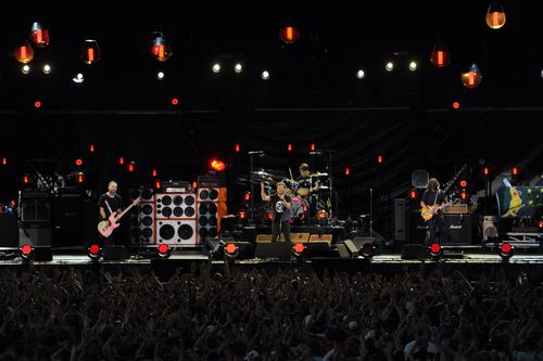 Pearl Jam, pictured performing at Sydney's Big Day Out in 2014, are trying to get young people to vote in the US November midterm elections.