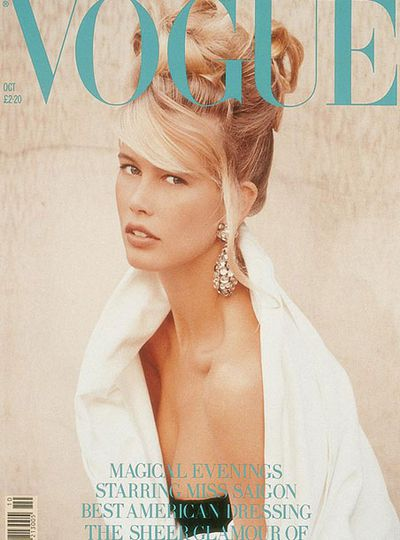 Claudia Schiffer on the cover of UK Vogue, October 1989 by Herb Ritts