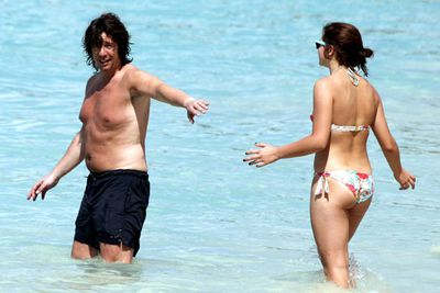 <i>Changing Rooms</i> presenter Laurence Llewelyn-Bowen hit the beach in Barbados with his wife and daughters.