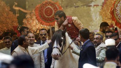 Anant Ambani arrives on horseback
