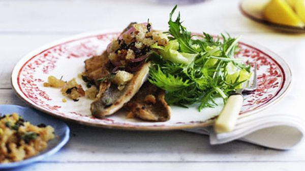 Pan-fried whiting with lemon and caper crumbs