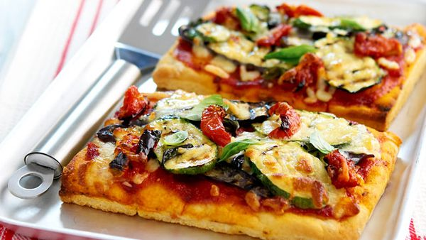 Tomato and eggplant pizza for $9
