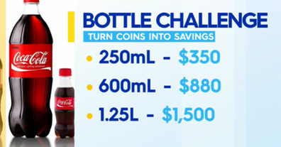 How much you could save with different sized bottles.