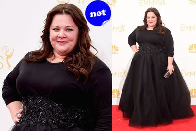Melissa could have used a touch of colour to brighten up her red carpet look.