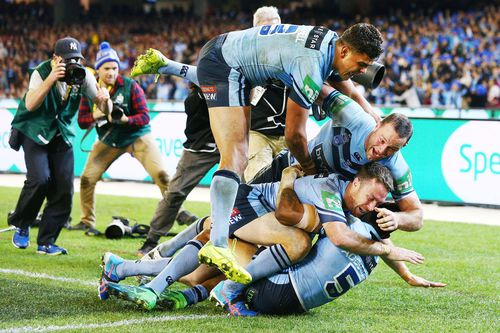 The NSW Blues soared to a 22-12 State of Origin 2018 Game I victory against Queensland. Picture: Getty.