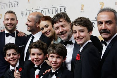 Back: Jai Courtney, Steve Bastoni, Olga Kurylenko, Russell and Yilmaz Erdogan.<br/><br/>Front: Child actors Dylan Georgiades, Ben Norris, Jack Patterson and Auden Liam Smith.