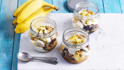 "Recipe: <a href=""http://kitchen.nine.com.au/2017/09/13/17/30/breakfast-banana-trifle-jars"" target=""_top"">Breakfast banana trifle jars</a>"
