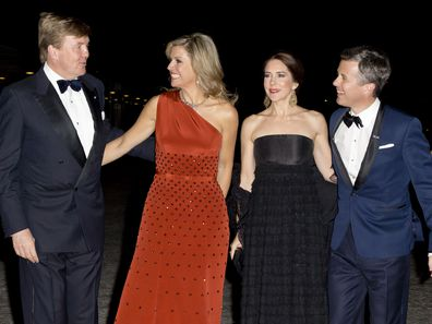 King Willem-Alexander and Queen Maxima of the Netherlands with Crown Princess Mary and Crown Prince Frederik in Copenhagen during a state visit to Denmark in 2015.